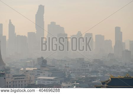 Problem Air Pollution At Hazardous Levels With Pm 2.5 Dust, Smog Or Haze, Low Visibility In Bangkok