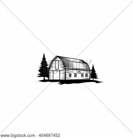Vintage Rustic Retro Farm Barn Logo Design