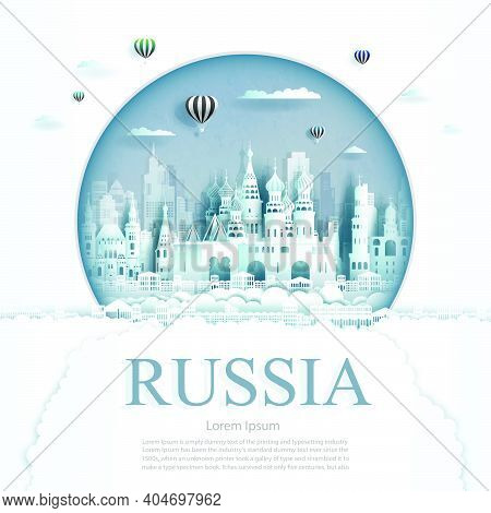 Travel Russia Monument With Ancient And City Modern Building In Circle Background. Business Travel P