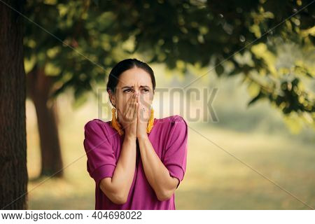 Scared Woman In The Park Witnessing Tragic Event
