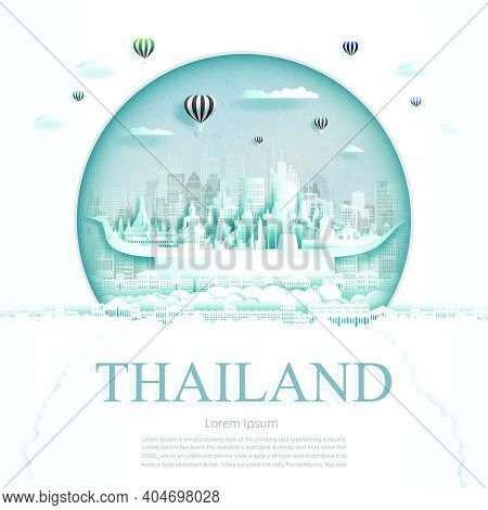 Travel Thailand Monument With Ancient And City Modern Building In Circle Background. Business Travel