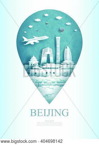 Travel China Beijing Architecture Monument Pin In Asia With Ancient And City Modern Building. Travel