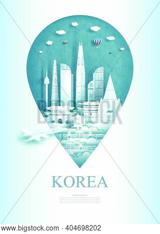 Travel South Korea Architecture Monument Pin In Asia With Ancient And City Modern Building. Travel P