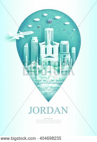 Travel Landmarks Jordan Monument Pin Of Asia Modern And Ancient Of Amman And Petra In Pin Marker Bac