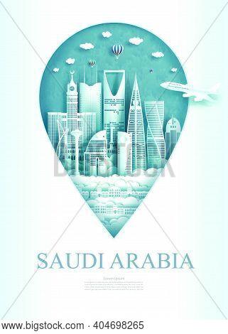 Travel Landmark Saudi Arabia Monument Pin Of Asia Modern And Ancient Of Riyadh In Pin Marker Backgro