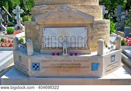 Paris, France - Circa 2008: Russian Emmigrant Cemetery With World War One Historical Monument Devote