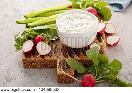 Homemade Greek Tzatziki Dip Or Sauce In A Measuring Cup