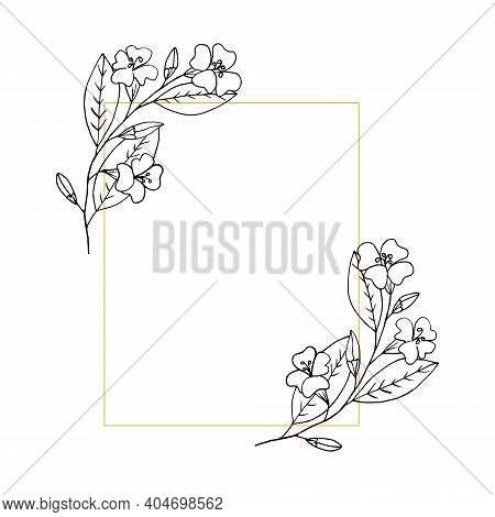 Flowers Rectangular Frame, Border, Card With Place For Text. Sketch Hand Drawn Doodle Style. Monochr
