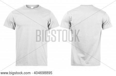Grey T Shirt Mockup Front And Back Used As Design Template, Isolated On White Background With Clippi