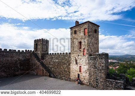 Braganca Medieval Castle. View Of The Walls And Beyond The Castle Of Braganca, A Medieval Fort, Loca