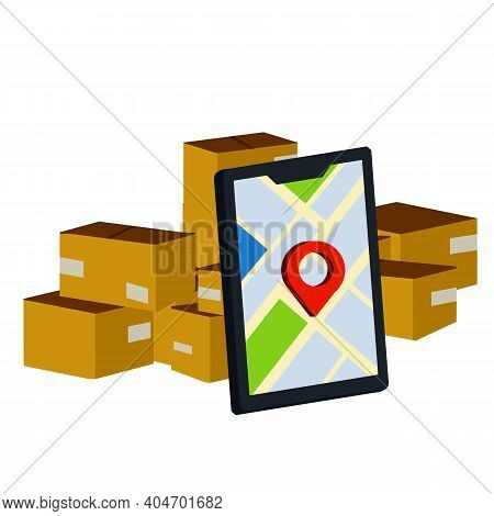 Tracking Of Parcel. Lots Of Cardboard Boxes. Pile Of Packages. Mobile Phone With City Map And Pin. D