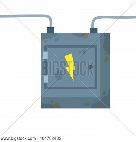 Switchboard. Electrical Wires In Box. High Voltage Sensor. Technical Industrial Appliance. Danger Si