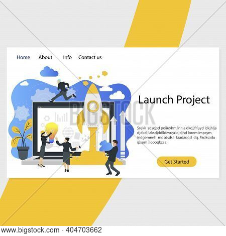 Launch Project Landing Page, Startup Organization. Vector Leader Ceo Organization Startup From Lapto