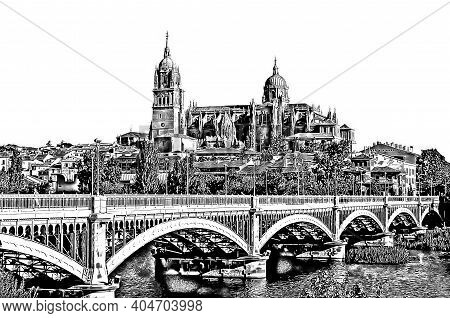 Graphical View Salamanca Cathedral And Estevan Bridge Over Tormes River On White Background. Salaman