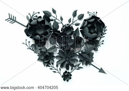 Black Paper Flowers, Floral Background, Bridal Bouquet, Wedding, Quilling, Valentine's Day Greeting