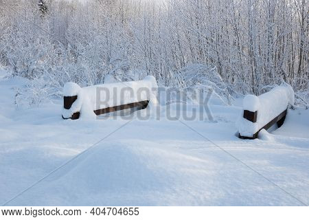 White Winter Forest During A Snowfall. Landscape In A City Park With A Snow Path, A Bridge Over A Fr