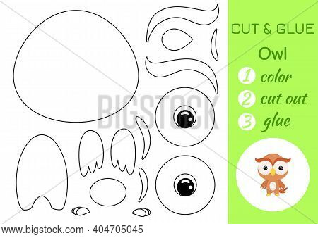 Coloring Book Cut And Glue Baby Owl. Educational Paper Game For Preschool Children. Cut And Paste Wo