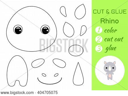 Coloring Book Cut And Glue Baby Rhino. Educational Paper Game For Preschool Children. Cut And Paste