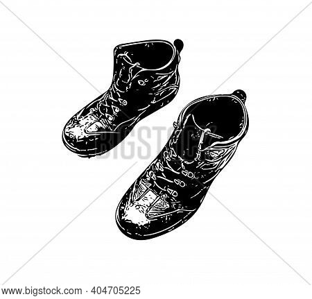 Hand Drawn Sketch Of Boots On White Background. Comfort Hiking Shoes In Casual Style. Footgear Illus