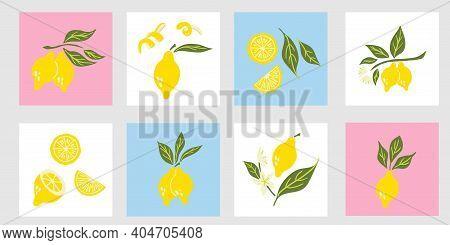 Lemon Poster Set. Exotic Tropical Yellow Citrus Fresh Fruit Composition, Juicy Lemons With Green Lea