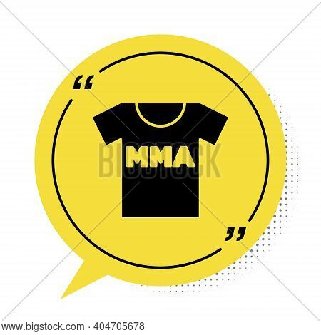 Black T-shirt With Fight Club Mma Icon Isolated On White Background. Mixed Martial Arts. Yellow Spee