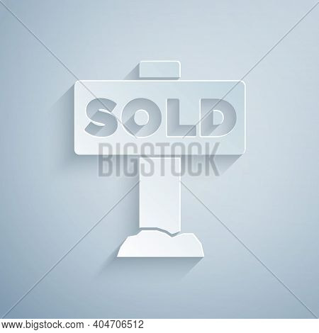 Paper Cut Hanging Sign With Text Sold Icon Isolated On Grey Background. Sold Sticker. Sold Signboard