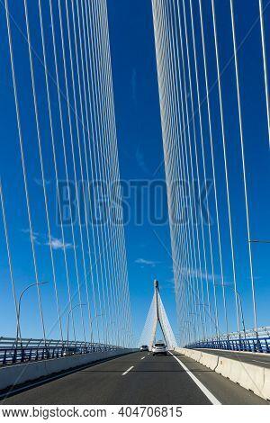 Traffic On The Puente De La Constitucion De 1812 Bridge In The Bay Of Cadiz