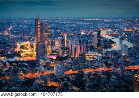 Bangkok Thailand - June 8 2019 : Landscape Of Bangkok City During Night Scene