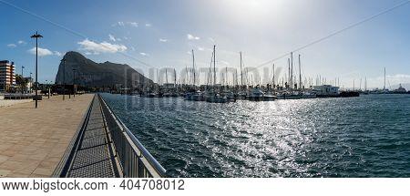 Panorama View Of The Alcaldesa Marina And The Rock Of Gibraltar