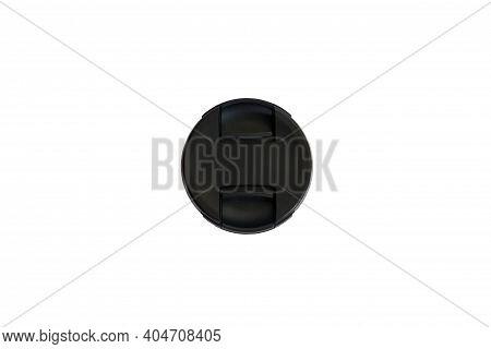 Slr Camera Lens Cap On White Isolated Background