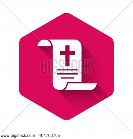 White Decree, Paper, Parchment, Scroll Icon Icon Isolated With Long Shadow Background. Chinese Scrol