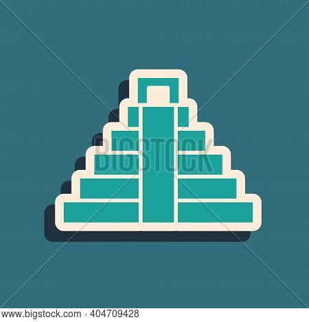 Green Chichen Itza In Mayan Icon Isolated On Green Background. Ancient Mayan Pyramid. Famous Monumen