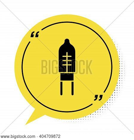 Black Light Emitting Diode Icon Isolated On White Background. Semiconductor Diode Electrical Compone