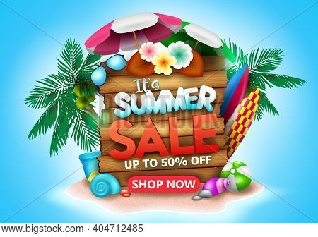 Summer Sale Vector Banner Design. It's Summer Sale Text In Beach Island Background With Up To 50% Of