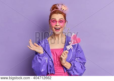 Retro Fashion Model Dressed In Nineties Style Has Happy Expression Nostalgia Holds Delicious Candy P