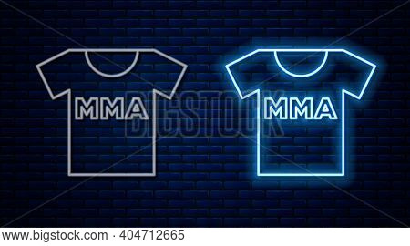 Glowing Neon Line T-shirt With Fight Club Mma Icon Isolated On Brick Wall Background. Mixed Martial