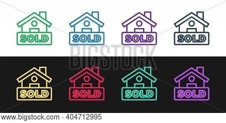 Set Line Hanging Sign With Text Sold Icon Isolated On Black And White Background. Sold Sticker. Sold