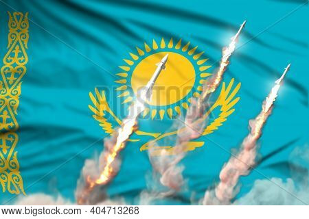 Modern Strategic Rocket Forces Concept On Flag Fabric Background, Kazakhstan Nuclear Warhead Attack