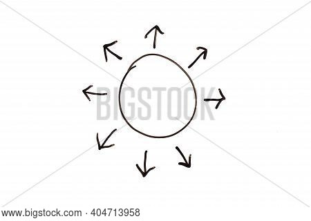 Black Doodle Handdrawing In Arrow Spread Forward  From Circle Shape On White Background