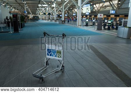 Richmond, Bc, Canada - Mar 29, 2020: Luggage Cart In The International Departures Area Of Yvr That I