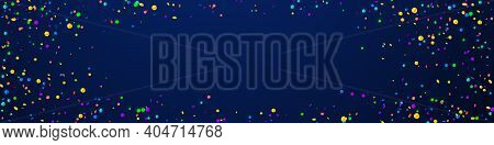 Festive Glamorous Confetti. Celebration Stars. Bright Confetti On Dark Blue Background. Amazing Fest