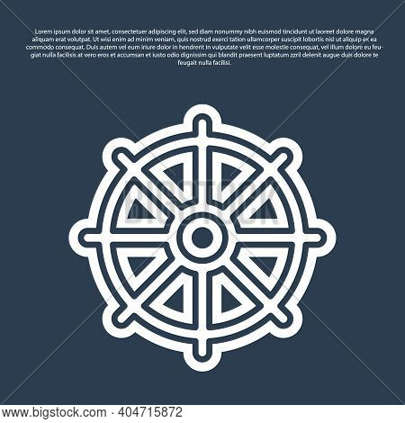 Blue Line Dharma Wheel Icon Isolated On Blue Background. Buddhism Religion Sign. Dharmachakra Symbol