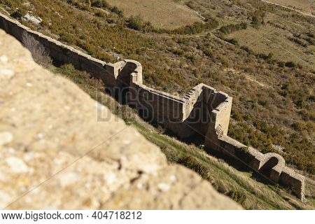 Defensive Outer Wall Of The Medieval Castle Of Loarre, Aragonese Castle From The 11th And 12th Centu