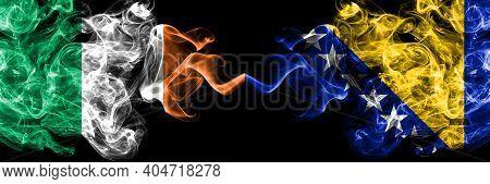 Republic Of Ireland, Irish Vs Bosnia And Herzegovina, Bosnian, Herzegovinian Smoky Mystic Flags Plac