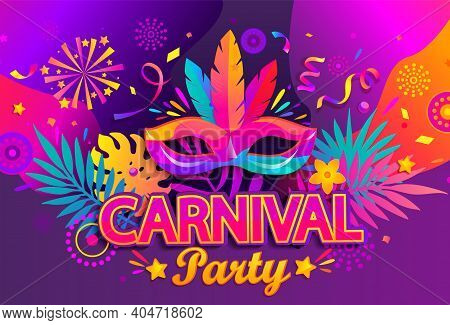 Carnival Party Banner, Invitation Card. Mask With Feathers For Festive On Fluid Gradient Background.
