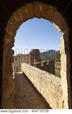 Beacon And Defensive Wall Of The Medieval Castle Of Loarre, Aragonese Castle From The 11th And 12th