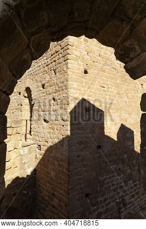 Shadows And Arch In The Medieval Castle Of Loarre, Aragonese Castle From The 11th And 12th Century,