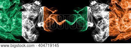 Republic Of Ireland, Irish Vs Ireland, Irish Smoky Mystic Flags Placed Side By Side. Thick Colored S