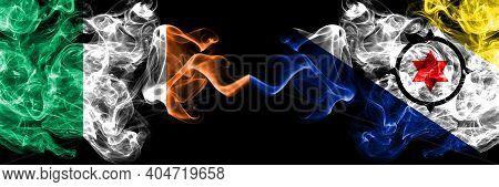 Republic Of Ireland, Irish Vs Netherlands, Dutch, Holland, Bonaire Smoky Mystic Flags Placed Side By