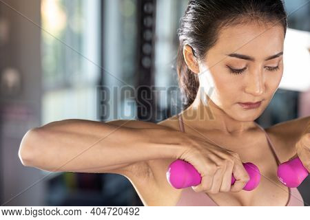 Sport Woman Workout At Fitness Center With Relax Exercise Beautiful Girl Lift Weight At Gym For Exer